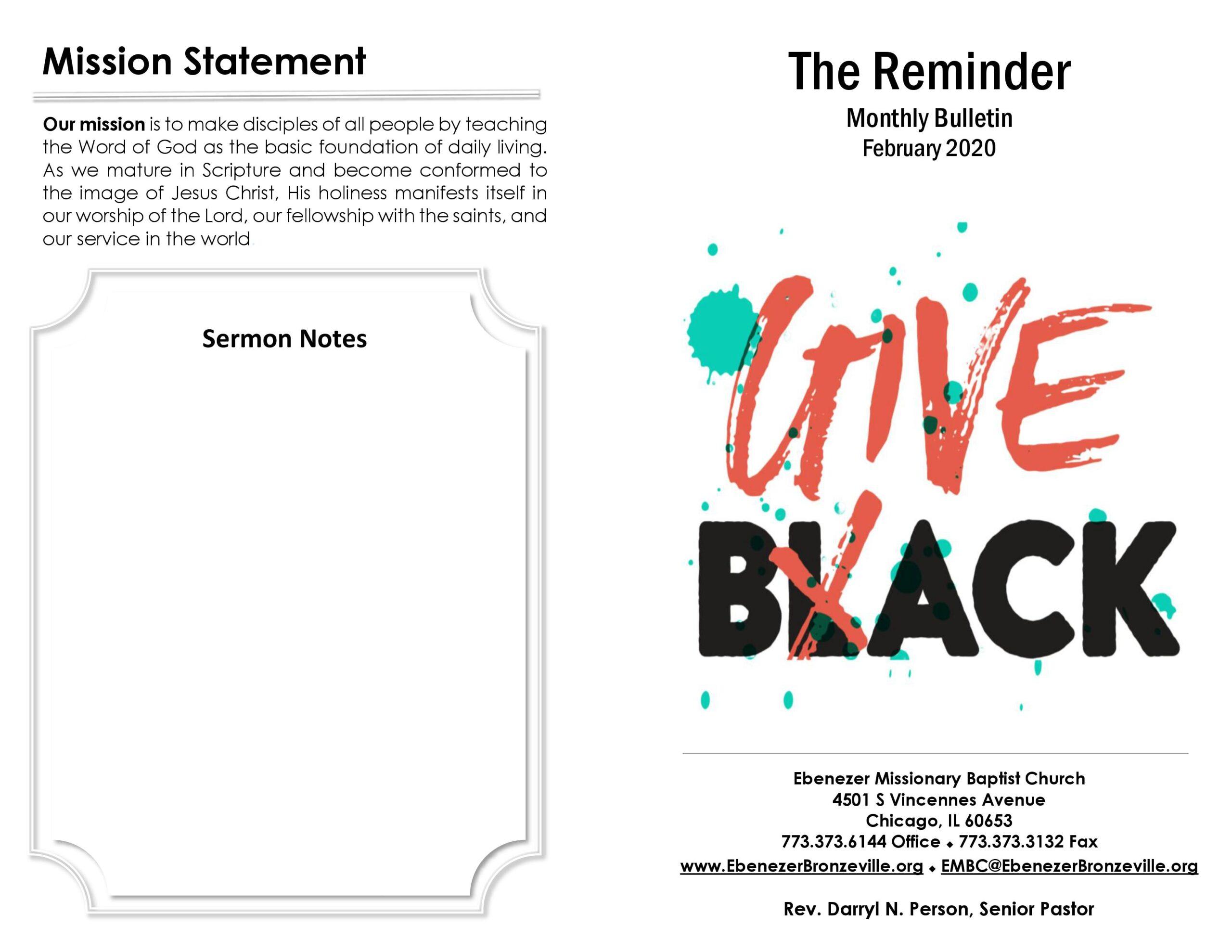 Ebenezer MBC Bulletin February 2020
