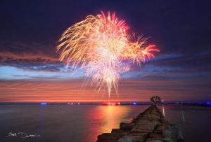 2015 Festivalof the Fish Fireworks off of breakwall