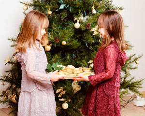 Girls Holding Plate of Mince Pies