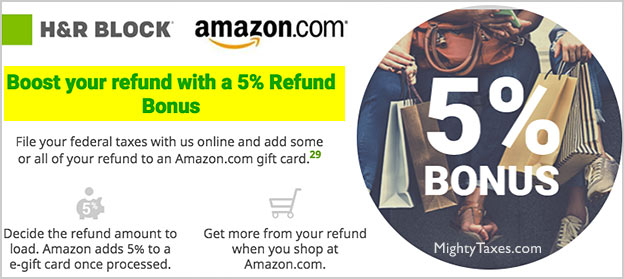 amazon hr block refund bonus promotion