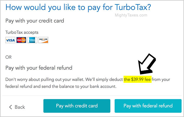 turbotax pay refund fee