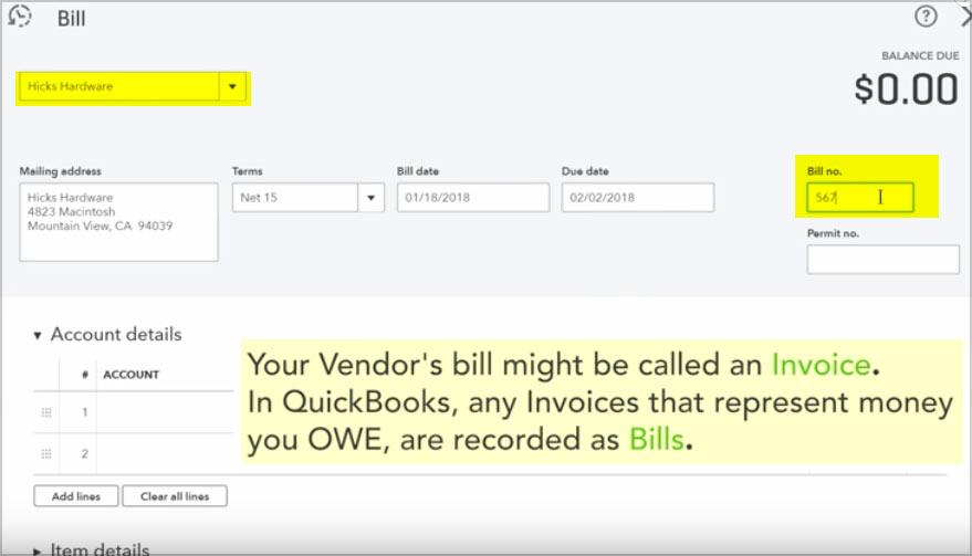 quickbooks vendor bill invoice
