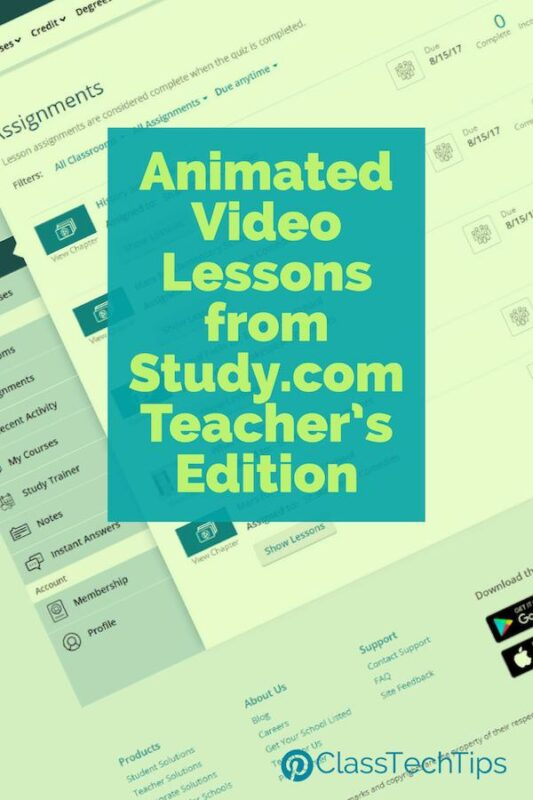 Animated Video Lessons from Study.com Teacher's Edition
