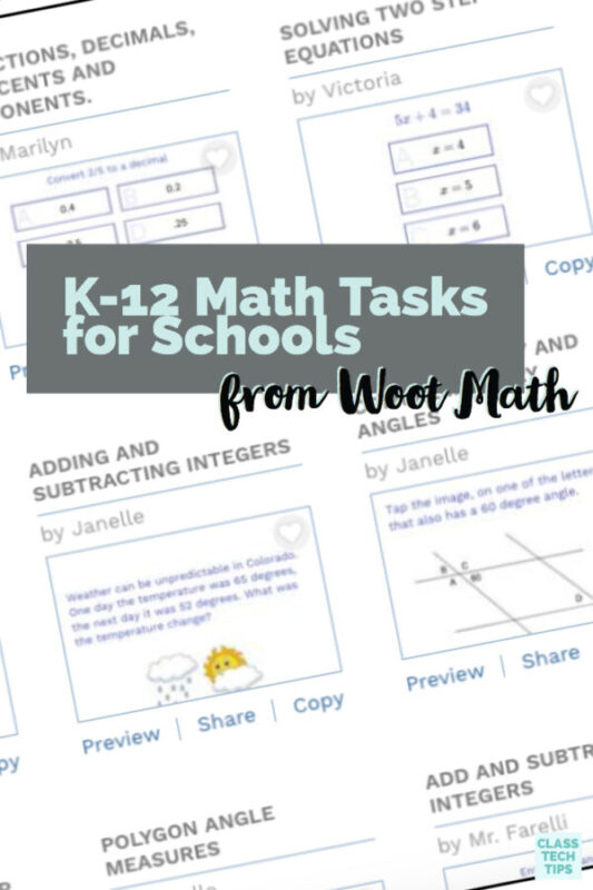 K-12 Math Tasks for Schools from Woot Math