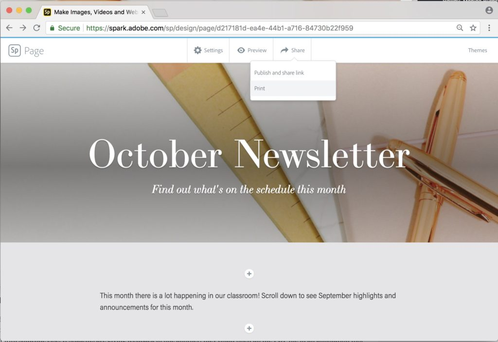 Publish Spark Page as a PDF