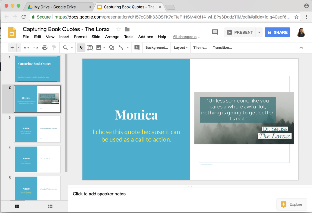 Sharing Adobe Spark Creations with Google Slides