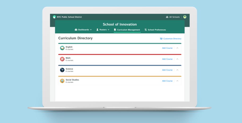 You can see Responsive Curriculum Management in Action through the Kiddom Academy's administrator and teacher dashboard.