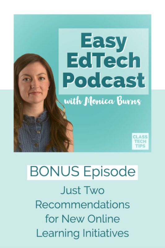 Just Two Recommendations for New Online Learning Initiatives A