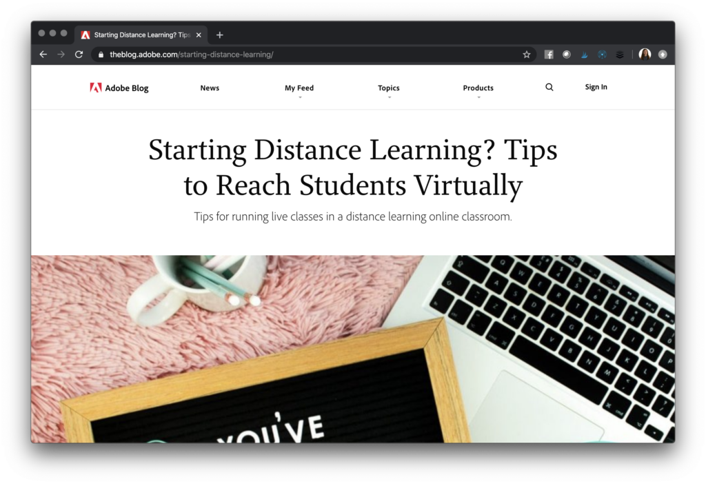 Check out this rundown of must-see Adobe distance learning resources featuring Adobe Spark blog posts, webinars, courses, and more!