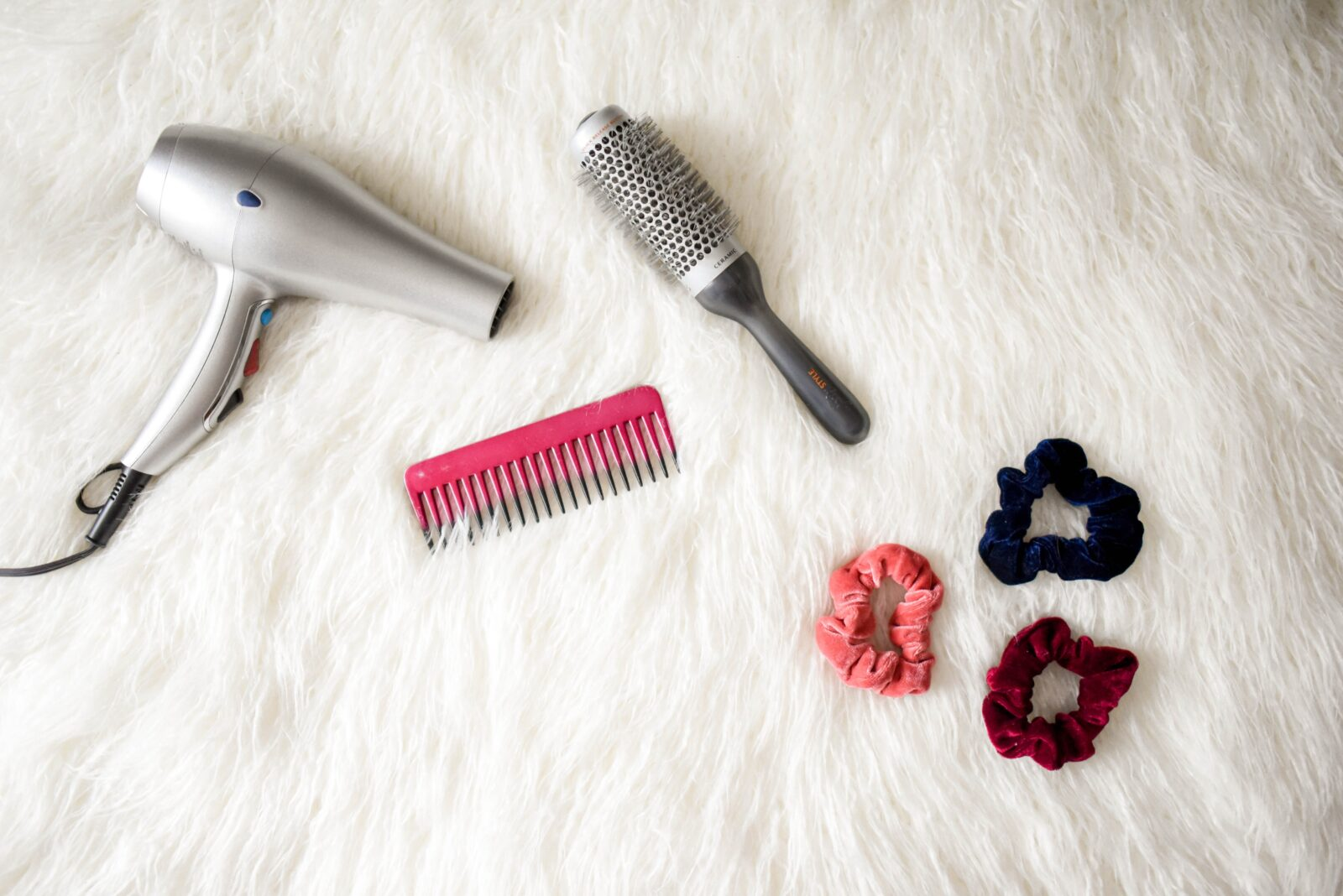Hair dryer, combs, brushes and scrunchies