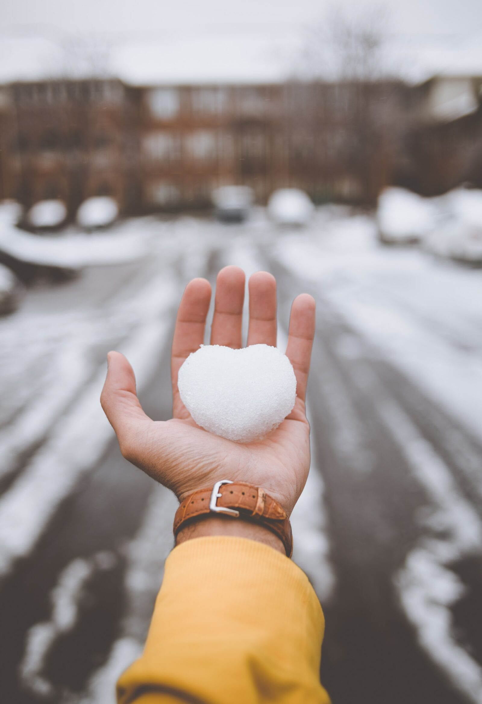 Hand holding a small heart-shaped snowball