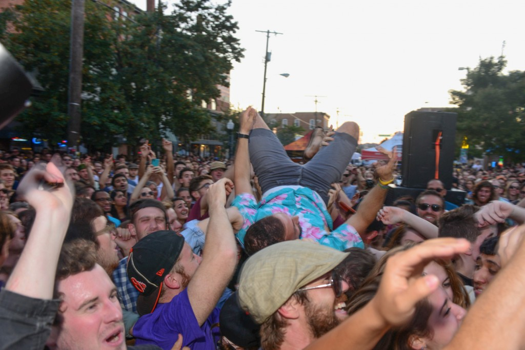 Crowd surfing during Future Islands