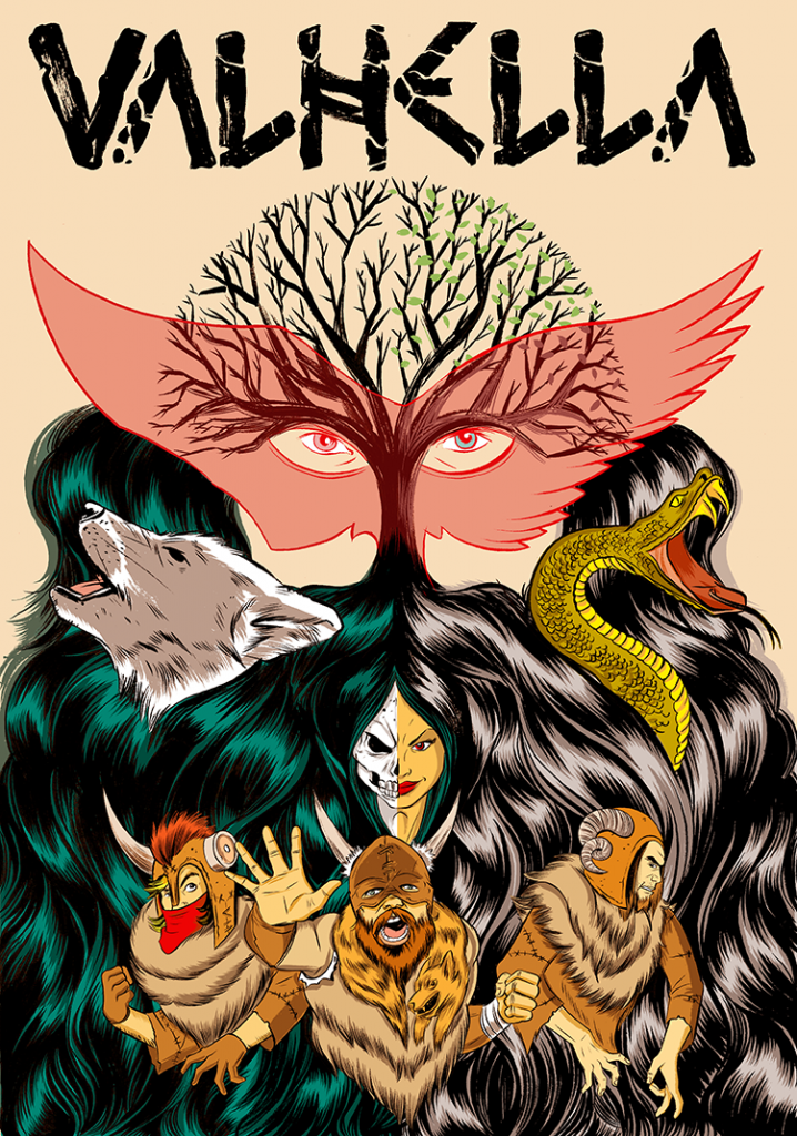 """Poster for the Baltimore Rock Opera Society's 2012 production """"Valhella."""" Collaboration piece with John Decampos."""