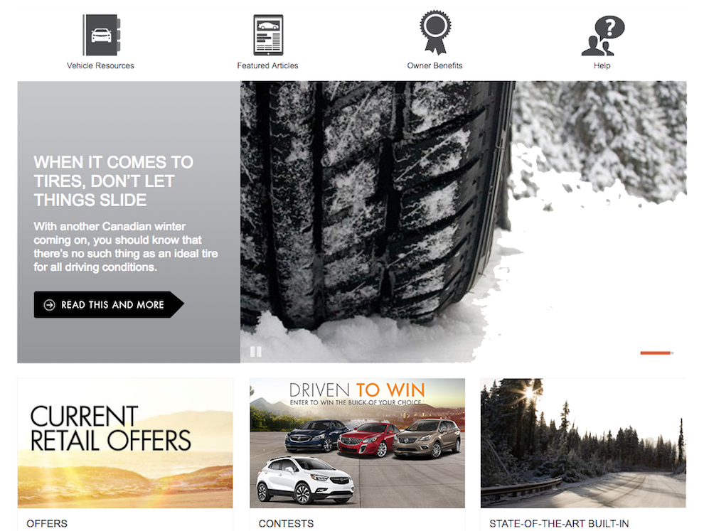 GM Canada dynamic landing page resource section lifestyle blog