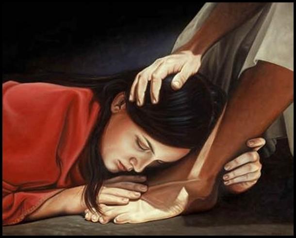 Mary at His feet