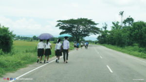 Kids off to school, in Karbi Anglong district of Assam