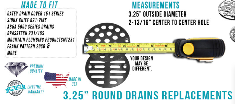 """how to measure a 3.25"""" drain"""