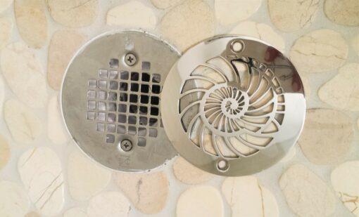 Nautilus round shower drain installment_Oatey replacement
