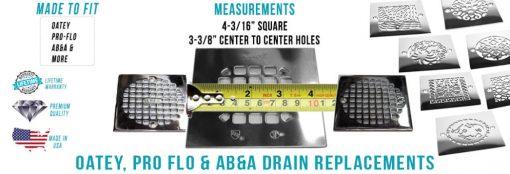 Measure 4.1875 inch square shower drains