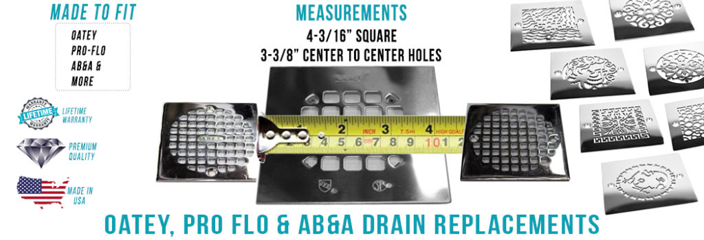 Measure 4.1875 inch square shower drains