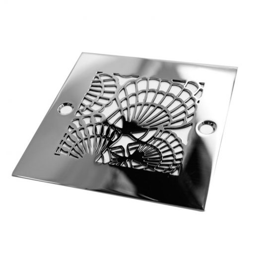 Replacement Shower Drain Cover - 4 Inch Square Shower Drain Replacement - Designer Drains Sea Shells