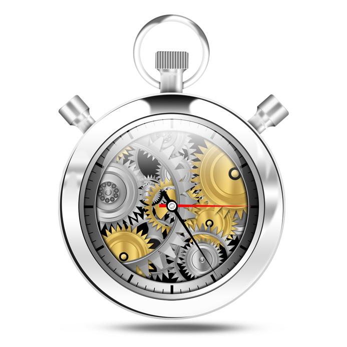 Mechanical clock stop watch, illustration
