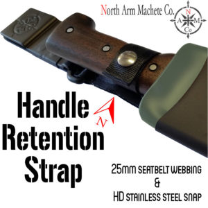North Arm Machete Co's Tramontina Bolo sheath. Shows location of the Handle Retention Strap