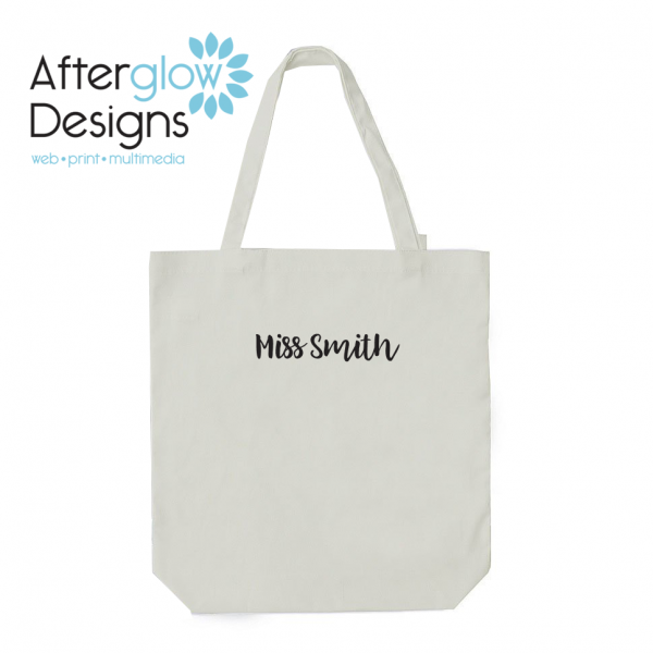 """""""The Influence of a Good Teacher Can Never Be Erased"""" on White Tote Bag Personalize Back"""