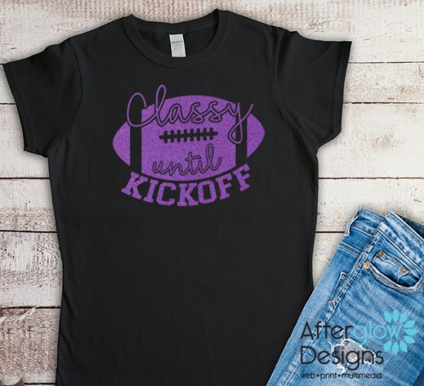Classy Until Kickoff Glitter Purple on Black Tshirts