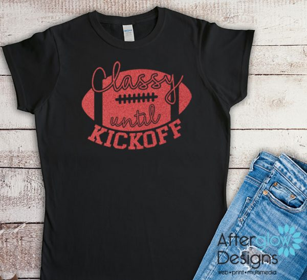 Classy Until Kickoff Glitter Red on Black Tshirts