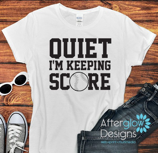 Quiet I'm Keeping Score Ladies White Tshirt