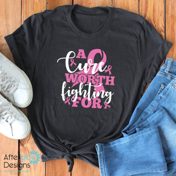 """""""A Cure Worth Fighting For"""" in Pink on Black Crew Neck Tee"""