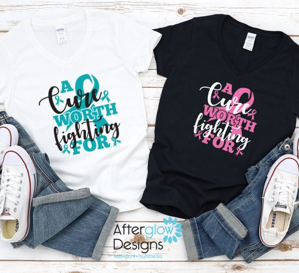 """""""A Cure Worth Fighting For"""" in Turquoise on White Vneck and Pink on Black V-Neck Tee"""