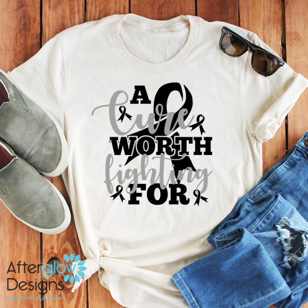 """""""A Cure Worth Fighting For"""" in Black on Crew Neck Tee"""