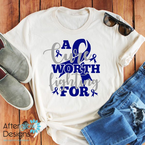 """""""A Cure Worth Fighting For"""" in Dark Blue on Crew Neck Tee"""