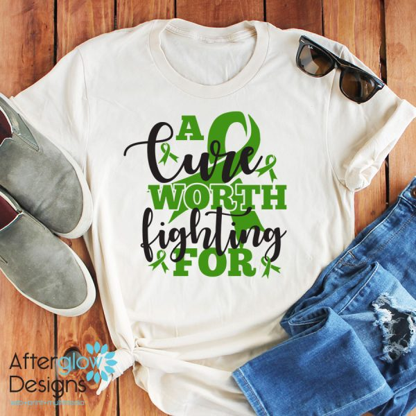 """""""A Cure Worth Fighting For"""" in Kelly Green on Crew Neck Tee"""