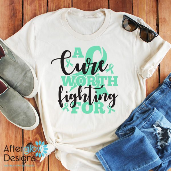 """""""A Cure Worth Fighting For"""" in Mint on Crew Neck Tee"""