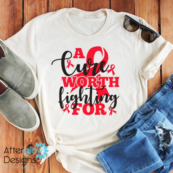 """""""A Cure Worth Fighting For"""" in Red on Crew Neck Tee"""