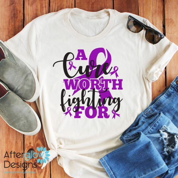 """""""A Cure Worth Fighting For"""" in Violet on Crew Neck Tee"""