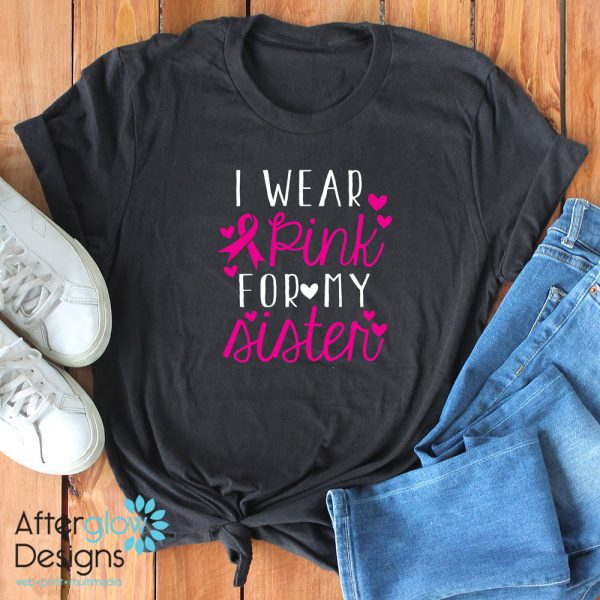 """I Wear Pink for My..."" on Black Crew Neck"