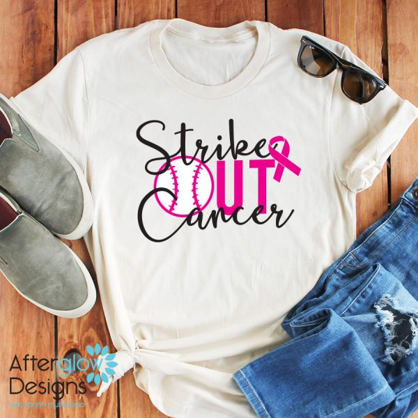 Strike out Cancer on White Short Sleeve Crew Tee