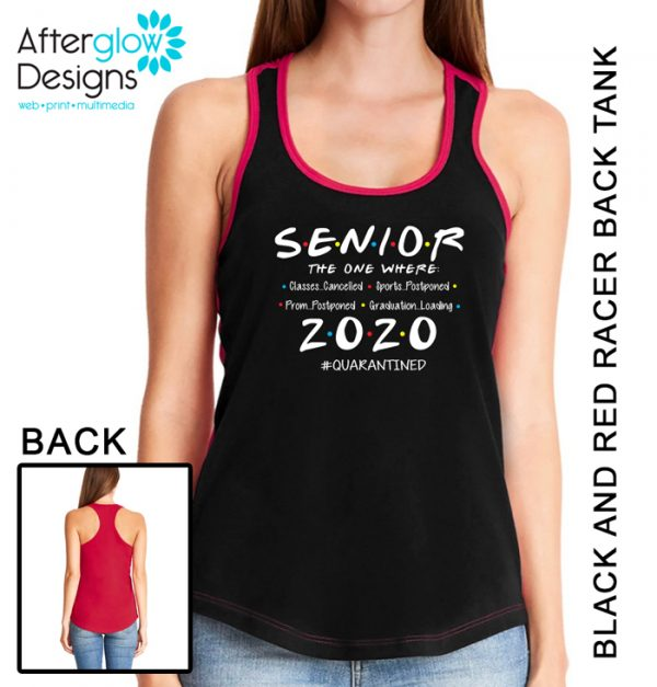 """Senior 2020 - The One Where"" on Black and Red Tank"