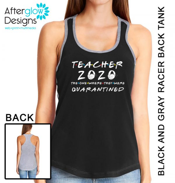 """""""Baseball Mom - The One Where They Were Quarantined"""" on Black and Gray Tank"""