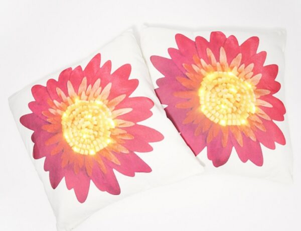 Gerber Daisy Spring LED Pillow by Ultimate Innovations