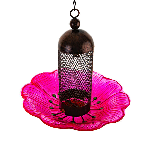 Ultimate Innovations Glass and Metal Bird Feeder Pink