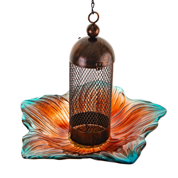 Ultimate Innovations Glass and Metal Bird Feeder Coral