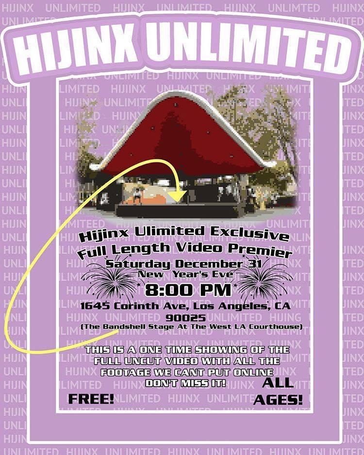 Hijinx Unlimited Video Premiere Flyer 2016 12 31
