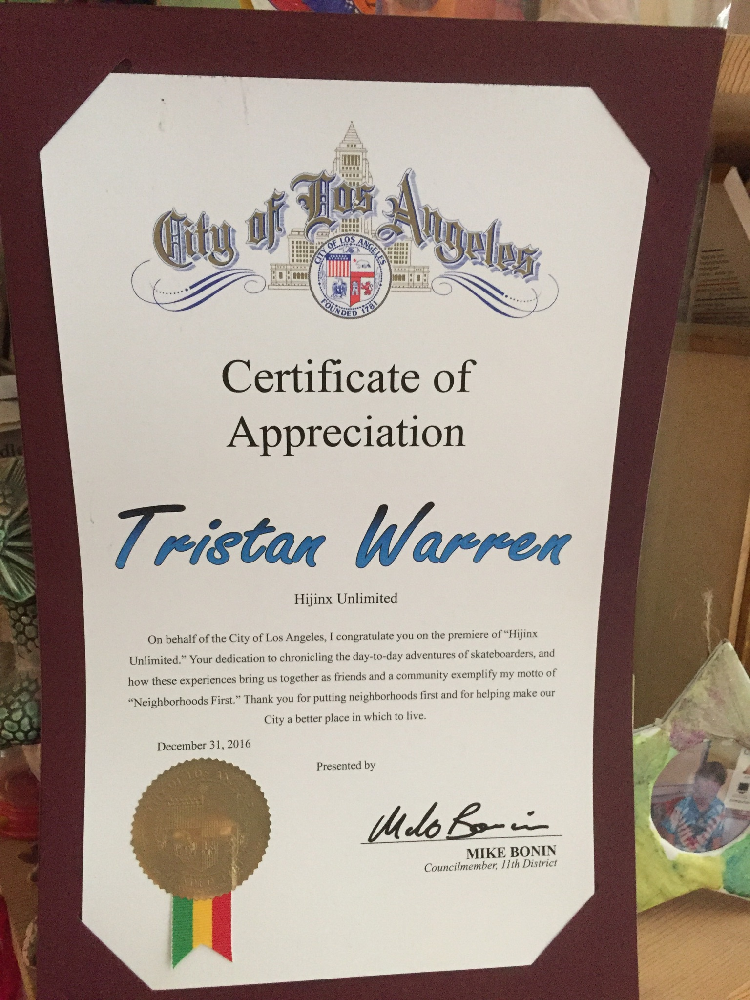 2016 12 Certificate Of Appreciation