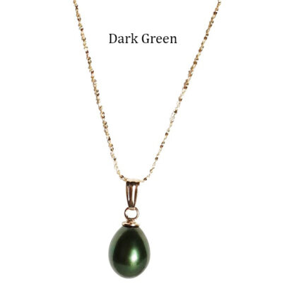 Teardrop-Pearl-on-Gold-Chain-Dark-Green