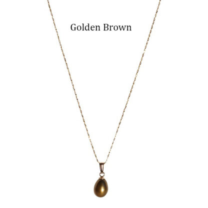 Teardrop-Pearl-on-Gold-Chain-Golden-Brown